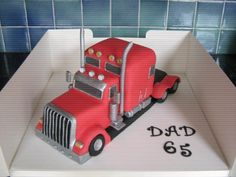 cakes in the shape of a 18 wheeler | truck cake this was made for my dads 65th birthday vanilla cake with ...