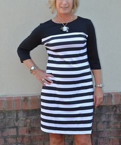 Another great find on #zulily! Black & White Stripe Three-Quarter Sleeve Dress by Erma's Closet #zulilyfinds