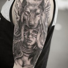 My realistic black and grey, shaman lady and wolf tattoo. I've alwys wanted to tattoo a wolf, but didnt want to do without any meaning. After researching what many cultures think about wolf, I found shamanism. In shaman, wolf represents love, healthy relationships, loyalty, respect and generosity. It's an animal that loves & does most activities with its family (clan), but also has the ability to go out by itself to learn and bring new learnings to the family. Done by Ganso Galvão in one…