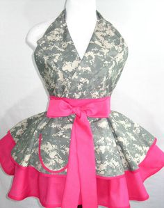 Pin Up ACU Army Wife Digital Camo Apron - I would love yellow instead of pink.