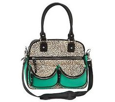 Combine the @PANTONE COLOR #ColoroftheYear and Animal Print for instant style. Love this @Aimee Kestenberg #Emerald Leather Lucy Satchel w/Front Pockets!