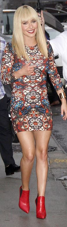 Who made  Hayden Panettiere's red ankle boots and blue long sleeve print dress that she wore in New York on August 28, 2013?
