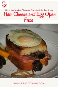 Learn how to make cheese sandwich recipes. This recipe is for a ham cheese and egg open face sandwich. In a large skillet add butter and cook the onion, mushrooms then add the wine and broth. Place buttered bread in a baking dish then top with cheese, ham and the mushroom mixture. Place the remaining bread slices on top; bake. Cook egg in the skillet and place on top of sandwiches.