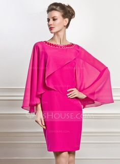 Sheath/Column Scoop Neck Knee-Length Chiffon Charmeuse Mother of the Bride Dress With Beading (008056883)