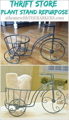 Thrift Store Plant Stand Repurpose for bathroom accessories!