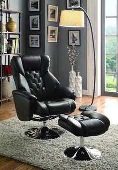 Homelegance 8548BLK-1 Aleron Collection Color Black Bonded Leather Match