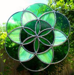 Seed of Life Sacred Geometry Green Mandala by JBsGlassHouse