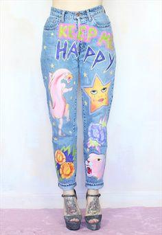 Keep+Me+Happy+Hand+Painted+Reworked+Custom+Mom+Jeans