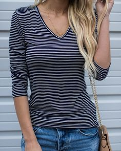 Week's End Striped Long Sleeve Top - Navy