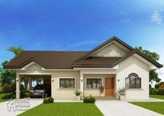 This three bedroom colonial house with 2 bathrooms has a total floor area of 134 sq. which require a minimum lot area of 289 sq. if it is to be constructed as single detached house. Single Storey House Plans, One Storey House, Modern Bungalow House Design, Simple House Design, Bungalow Designs, Build Your House, Building A House, Three Bedroom House, Storey Homes