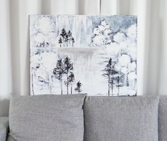 """Secret Place"" acrylic painting by Hammi´s Design.   Mielikuvitusmaisema, männyt <3  #nature #luonto #männyt #sisustus #maalaus #hammisdesign Tapestry, Paintings, Curtains, Shower, Prints, Design, Home Decor, Hanging Tapestry, Rain Shower Heads"