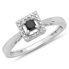 Share and get $20 off your order of $100 or more. 0.30 Carat (ctw) 10K White Gold Princess Cut Black Diamond Ladies Solitaire Bridal Promise Engagement Ring 1/3 CT - Dazzling Rock #https://www.pinterest.com/dazzlingrock/
