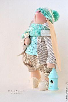 Купить Заяц мятно - кремовый - заяц, зайцы, заяц тильда, заяц текстильный, заяц игрушка