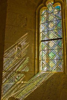 Sunlight coming into the Chateau de Bonaguil window in Saint-Front-sur-Lemance, France.