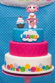 Cake at a Lalaloopsy Bakeshop Party with So Many Fabulous Ideas via Kara's Party Ideas | KarasPartyIdeas.com