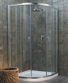 Small bathroom corner shower cubical This could tie into the rest of the bathroom by placing the same tile half way around the rest of the bathroom. Girls Bedroom, Simple Bathroom, Bathroom Ideas, Bath Ideas, Master Bath Shower, Shower Bathroom, Master Bathroom, Luxury Shower, Shower Surround