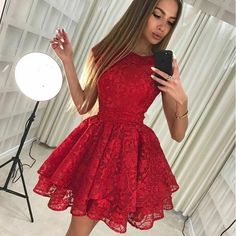 Party Dresses A-Line, Red Lace Homecoming Dresses, Red Homecoming Dresses, Lace Party Dresses Homecoming Dresses 2018 Modest Homecoming Dresses, Cheap Short Prom Dresses, Short Lace Dress, Unique Dresses Short, Classy Short Dresses, Short Red Prom Dresses, Short A Line Dress, Homecoming Outfits, Homecoming Dance