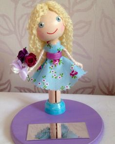 A personalised, peg dolly, thank you gift for a wonderful teacher. 💜 The Sugar Plum Workshop.