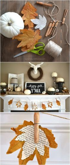 Fall Banner With Book Page Leaves. These fall banners with book page are perfect for your fall mantel decoration.