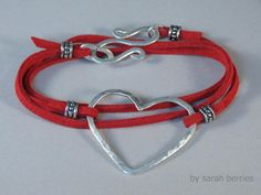 Bracelet Red Suede Leather Cord with Sterling Silver Heart by sarahberries, $45.00
