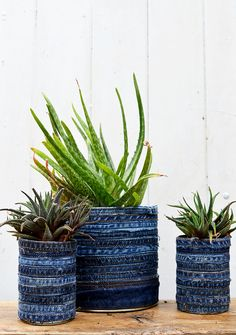 Make some unique recycled jean planters by upcycling denim seams and tin cans