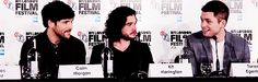 Colin Morgan, Kit Harington, and Taron Egerton attend the Testament of Youth Press Conference at the BFI London Film Festival - October 14, 2014. [Gif 1 of 5]