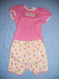 Boutique Hartstrings Pink Citrus Fruit 1pc & shorts outfit size 18- 24 month