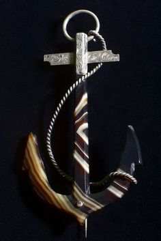 Antique Agate Anchor Brooch