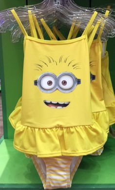 Despicable Me Two Eyed Minion Yellow Girls Ruffle Swim Bathing Suit NEW