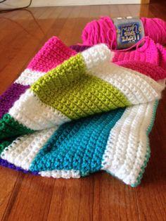 Rainbow Crochet Blanket - Finished my first #crochet project. #babyblanket