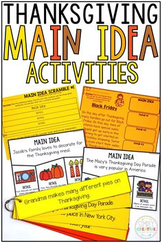 These Thanksgiving main idea activities are perfect for first grade and 2nd grade classrooms! Finding the main idea and details in a hands on way is always fun for small groups and guided reading! Included are creative turkey puzzles, build a paragraph with topic sentences, worksheets, Thanksgiving graphic organizers, and more! Use the organizers with Thanksgiving books of your choice, too! Great for nonfiction main idea and main topic units!
