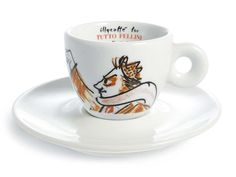 An exhibition of 286 espresso coffee cups designed by well-known artists. Federico Fellini, 1993