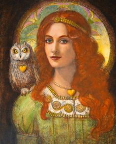 'Athena and Her Owl' by Sue Halstenburg***can't imagine that Athena was anything other than a brunette, but the artist's love titian colored hair lol***