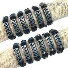 Men Lots 12pcs Silver Tone Lovely Turtle Genuine Black Leather Hemp Bracelets #cheapfine #fashion