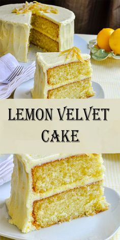 This is my favorite Red Velvet Cake recipe! This cake is incredibly soft, moist, buttery, and topped with an easy cream cheese frosting. Köstliche Desserts, Lemon Desserts, Lemon Recipes, Baking Recipes, Delicious Desserts, Bread Recipes, Food Cakes, Cupcake Cakes, Lemon Layer Cakes