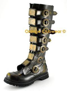 Demonia Steam 30 Steampunk Gothic Mens Leather Boots   eBay
