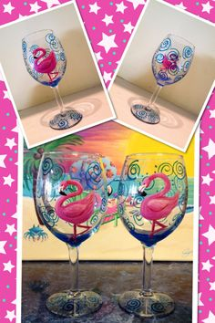 Adorable, hand painted, pink flamingo wine glass with festive blue swirls made to order. Personalization is free. Top-rack dishwasher safe, but hand washing recommended. Size 12 oz. Set pricing available. This is a hugely popular design, so please contact me if you prefer this design on the larger 20 oz. glass for $25.00.