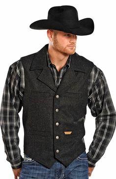 Powder River Men's Montana Heather Button Down Wool Vest - Black Western Suits, Western Wear, Western Film, Western Style, Cowboy Outfits, Vest Outfits, Sperrys Women, Estilo Country, Man Dressing Style