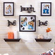 """Wall Photo Collage Home Decor The 8-Pc. Wall Photo Gallery lets you arrange a collage to fit your personality and space. This personal gallery includes frames, shelves and word accents. The frame holds two 4"""" x 6"""" photos and the other frames holds a single 4"""" x 6"""" photo. The pictures are protected behind glass.  8-Pc. set includes: Accent collage frame, 10"""" sq. 2 Frames, 6-3/8"""" x 8-3/8"""", each 2 Accent shelves, 10""""W x 4""""D x 1-3/4""""H, each 3 Word plaques Live, 5-1/8""""W x 3-3/4""""L Laugh, 9""""W x 5""""L…"""