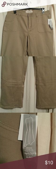 NEW TAN JEANS Slimmer in thigh and new. Sits below waist Fashion Bug Jeans Flare & Wide Leg