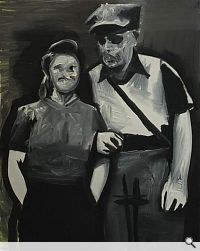 Ohne Titel (Partisan 'Feuer'), 2008. Öl auf Leinwand, 50 x 40 cm. Courtesy Wilhelm Sasnal; © Wilhelm Sasnal