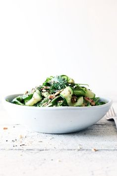 courgette avocado kale salad with almond dukkah