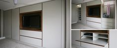 Wardrobes with TV cabinet and walnut trim - Couture Furniture