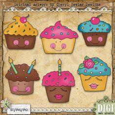 Happy Cupcakes 1 - Cheryl Seslar Country Clip Art