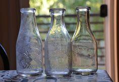 3 Antique Milk Bottles - Daisy Farm Dairy, Farrington Dairy on Etsy, $13.00