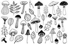 Mushroom Drawing, Mushroom Art, Acorn Drawing, Doodle Designs, Doodle Patterns, Autumn Doodles, Leaves Doodle, Halloween Drawings, Creative Sketches