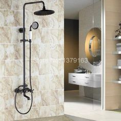 Wall Mounted Waterfall Bathroom Tub Faucet Hand Shower Rain Shower Set Black Oil Rubbed Brass ars382 #Affiliate