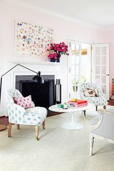 Pink and White Living room