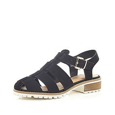 Black cleated sole sling back sandals - flat shoes - shoes / boots - women