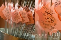 Sparkler Tags - Light the Way for the Bride & Groom - Wedding Favor Tags Script w. Names, Date - Sparklers Silver, Gold, Pink (Set of 24)